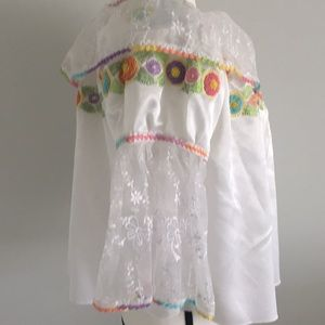 Tops - Pastel Floral Embroidered Satin and Boho Tunic